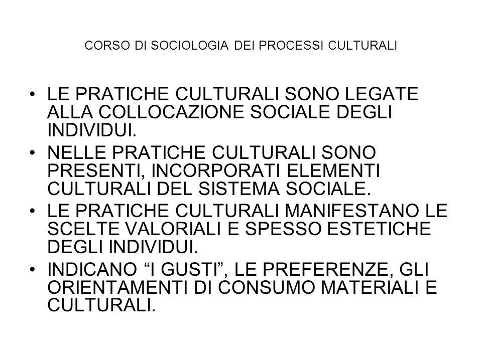 CORSO DI SOCIOLOGIA DEI PROCESSI CULTURALI LE PRATICHE CULTURALI SONO LEGATE ALLA COLLOCAZIONE SOCIALE DEGLI INDIVIDUI. NELLE PRATICHE CULTURALI SONO