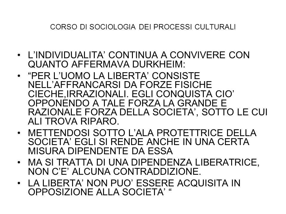 CORSO DI SOCIOLOGIA DEI PROCESSI CULTURALI LINDIVIDUALITA CONTINUA A CONVIVERE CON QUANTO AFFERMAVA DURKHEIM: PER LUOMO LA LIBERTA CONSISTE NELLAFFRAN