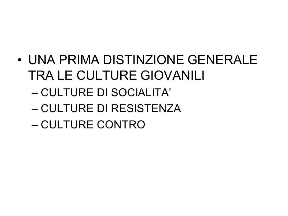 UNA PRIMA DISTINZIONE GENERALE TRA LE CULTURE GIOVANILI –CULTURE DI SOCIALITA –CULTURE DI RESISTENZA –CULTURE CONTRO