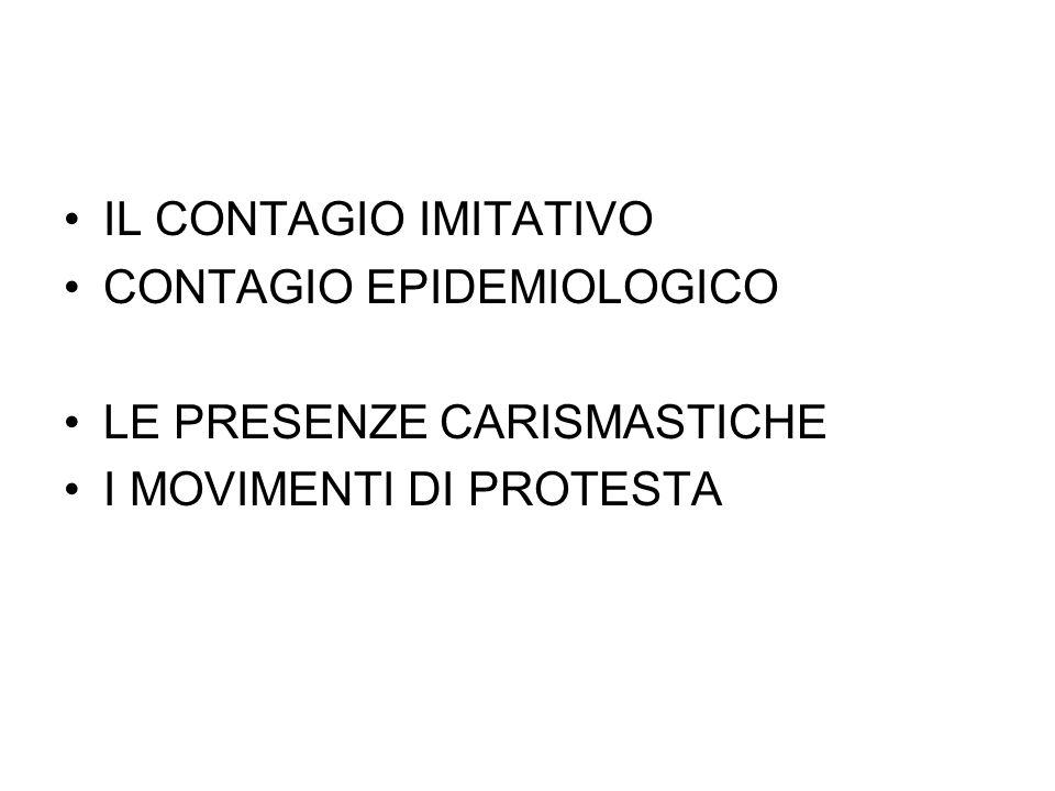IL CONTAGIO IMITATIVO CONTAGIO EPIDEMIOLOGICO LE PRESENZE CARISMASTICHE I MOVIMENTI DI PROTESTA