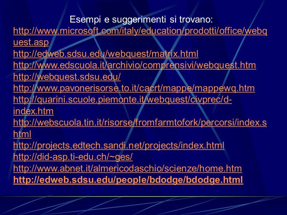 Esempi e suggerimenti si trovano: http://www.microsoft.com/italy/education/prodotti/office/webq uest.asp http://edweb.sdsu.edu/webquest/matrix.html ht