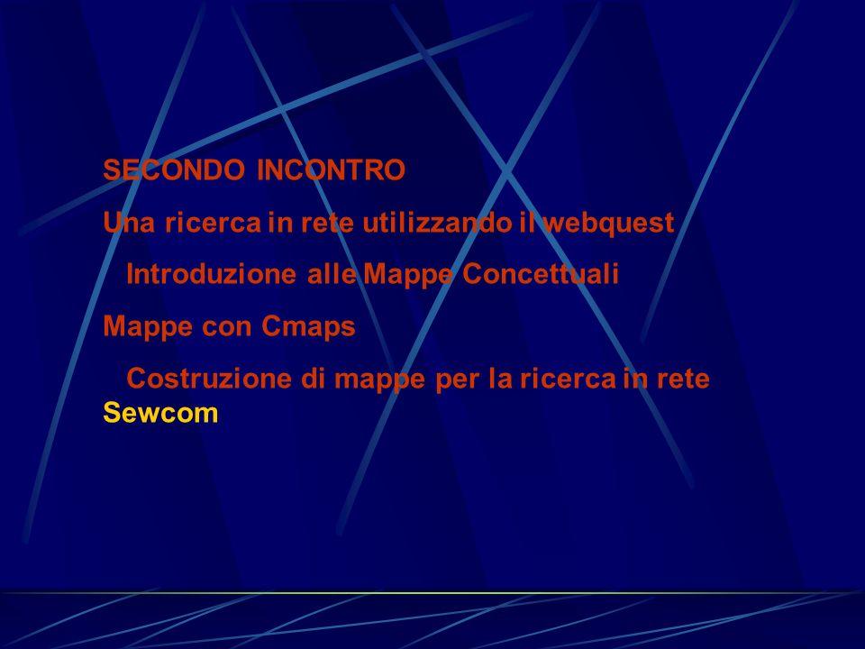 SECONDO INCONTRO Una ricerca in rete utilizzando il webquest Introduzione alle Mappe Concettuali Mappe con Cmaps Costruzione di mappe per la ricerca i