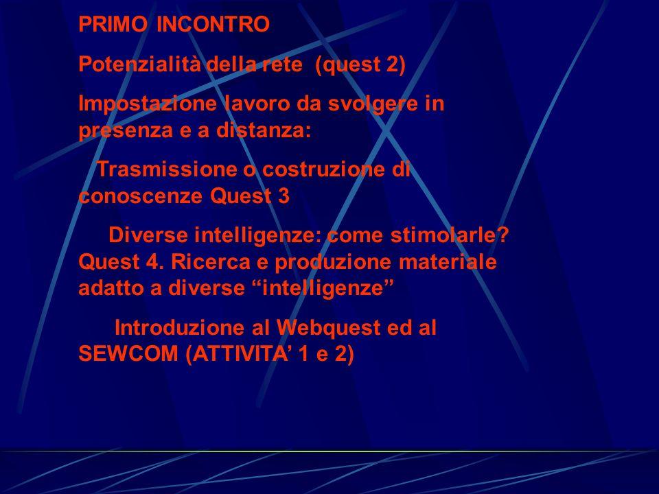 PRIMO INCONTRO Potenzialità della rete (quest 2) Impostazione lavoro da svolgere in presenza e a distanza: Trasmissione o costruzione di conoscenze Qu