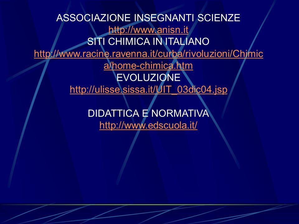 ASSOCIAZIONE INSEGNANTI SCIENZE http://www.anisn.it SITI CHIMICA IN ITALIANO http://www.racine.ravenna.it/curba/rivoluzioni/Chimic a/home-chimica.htm