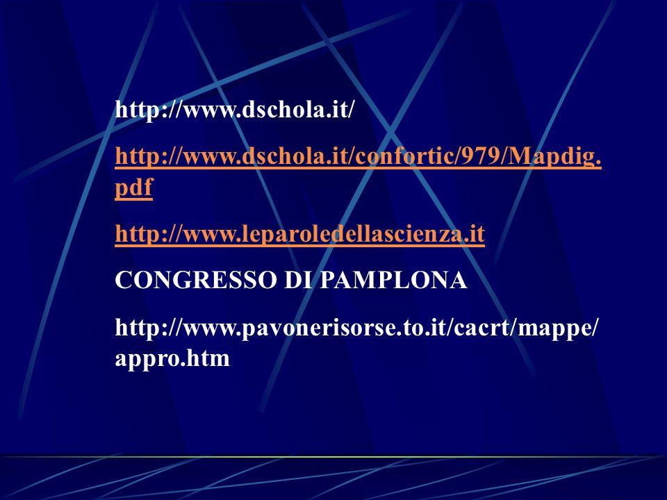 http://www.dschola.it/ http://www.dschola.it/confortic/979/Mapdig. pdf http://www.leparoledellascienza.it CONGRESSO DI PAMPLONA http://www.pavonerisor