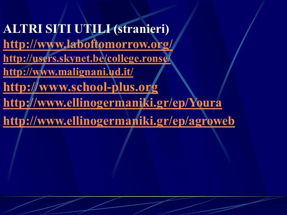 ALTRI SITI UTILI (stranieri) http://www.laboftomorrow.org/ http://users.skynet.be/college.ronse/ http://www.malignani.ud.it/ http://www.school-plus.or