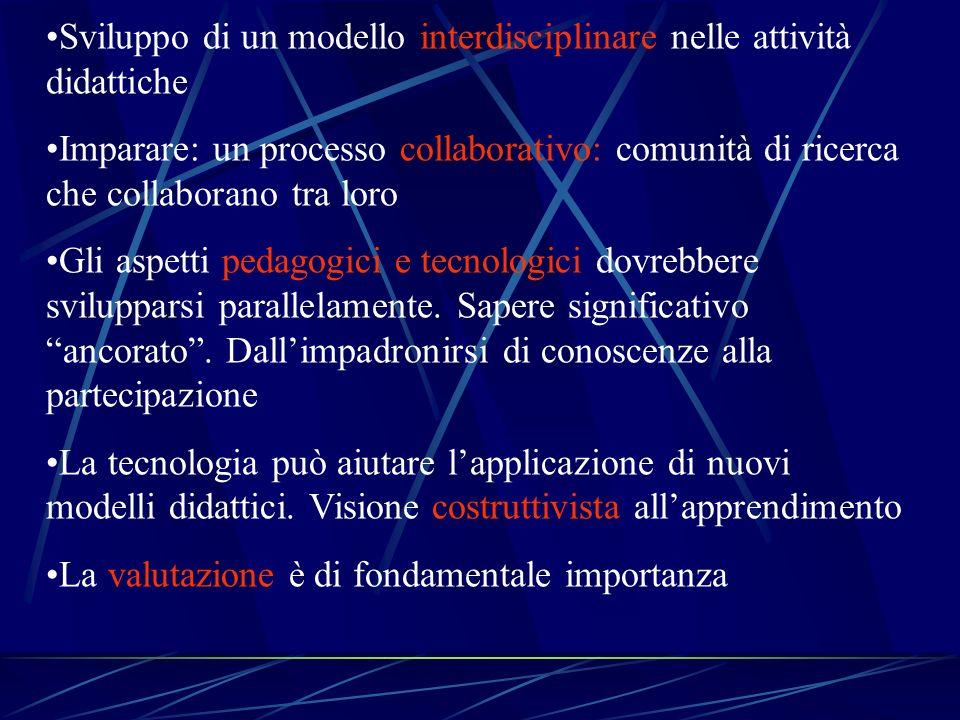 Sviluppo di un modello interdisciplinare nelle attività didattiche Imparare: un processo collaborativo: comunità di ricerca che collaborano tra loro G