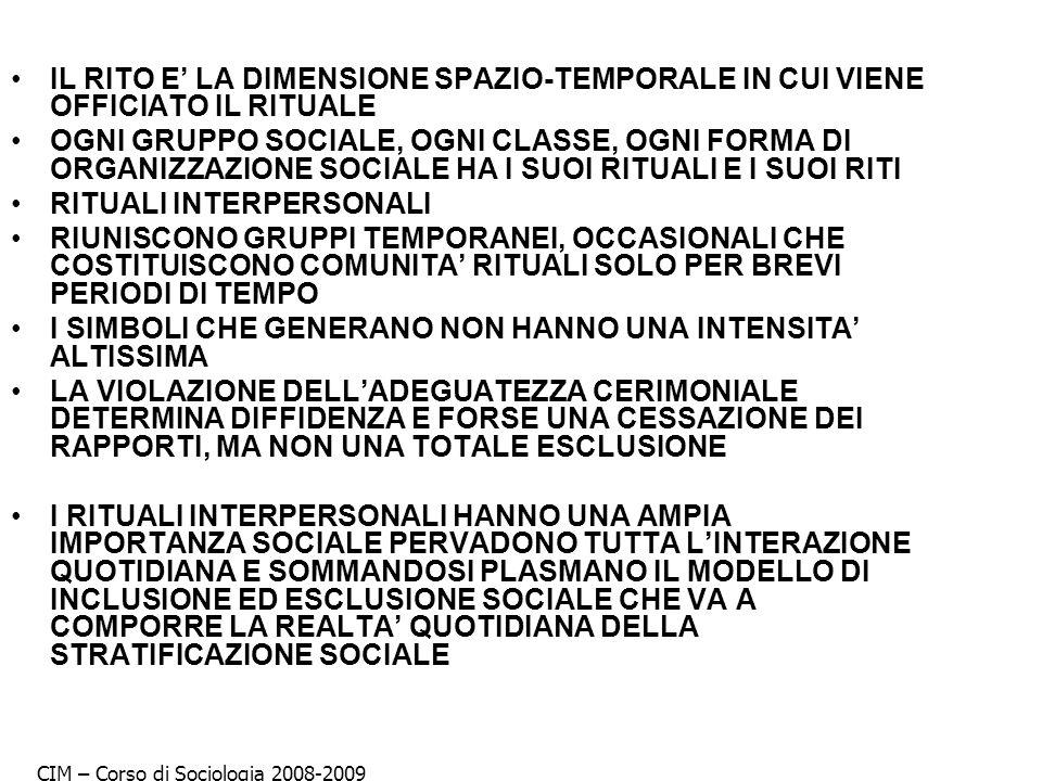 IL RITO E LA DIMENSIONE SPAZIO-TEMPORALE IN CUI VIENE OFFICIATO IL RITUALE OGNI GRUPPO SOCIALE, OGNI CLASSE, OGNI FORMA DI ORGANIZZAZIONE SOCIALE HA I