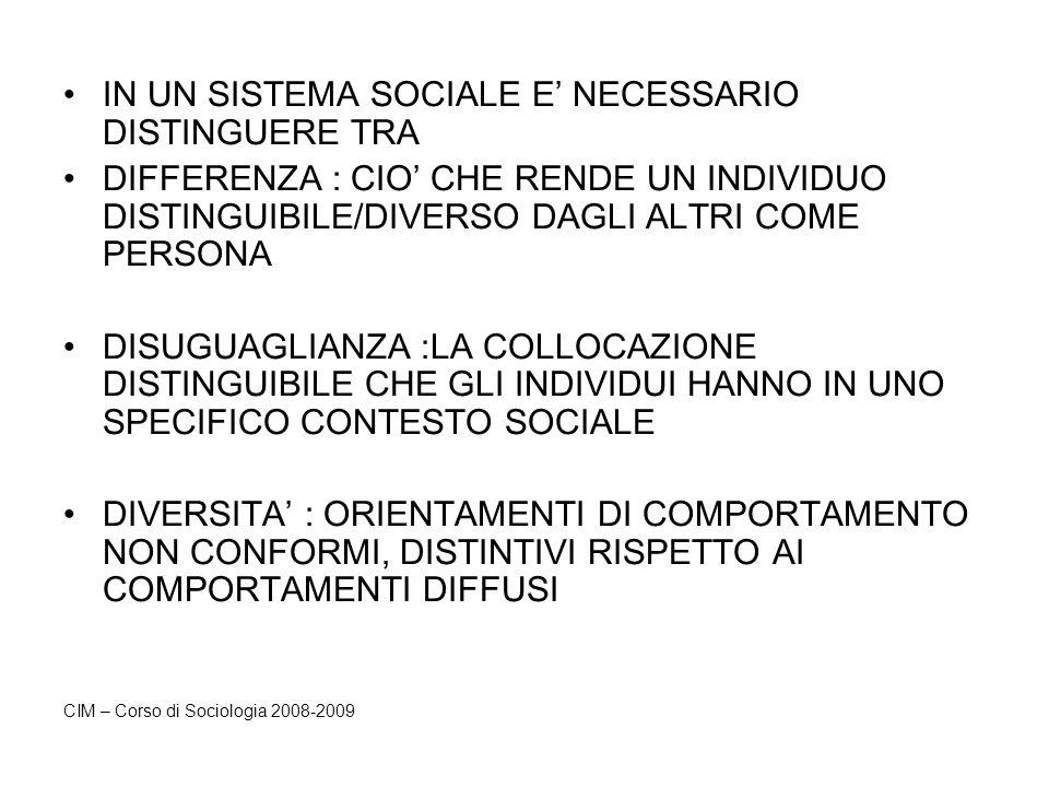 IN UN SISTEMA SOCIALE E NECESSARIO DISTINGUERE TRA DIFFERENZA : CIO CHE RENDE UN INDIVIDUO DISTINGUIBILE/DIVERSO DAGLI ALTRI COME PERSONA DISUGUAGLIAN
