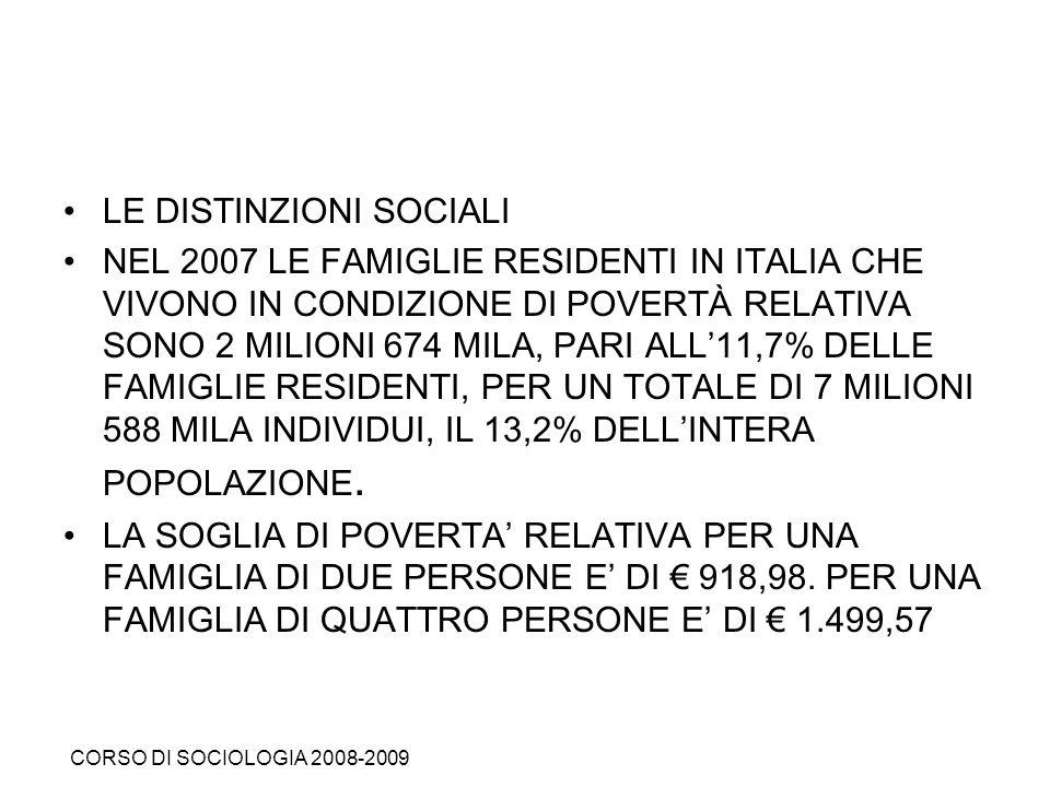 LE DISTINZIONI SOCIALI NEL 2007 LE FAMIGLIE RESIDENTI IN ITALIA CHE VIVONO IN CONDIZIONE DI POVERTÀ RELATIVA SONO 2 MILIONI 674 MILA, PARI ALL11,7% DE