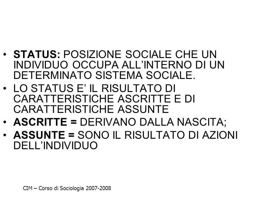 STATUS: POSIZIONE SOCIALE CHE UN INDIVIDUO OCCUPA ALLINTERNO DI UN DETERMINATO SISTEMA SOCIALE. LO STATUS E IL RISULTATO DI CARATTERISTICHE ASCRITTE E