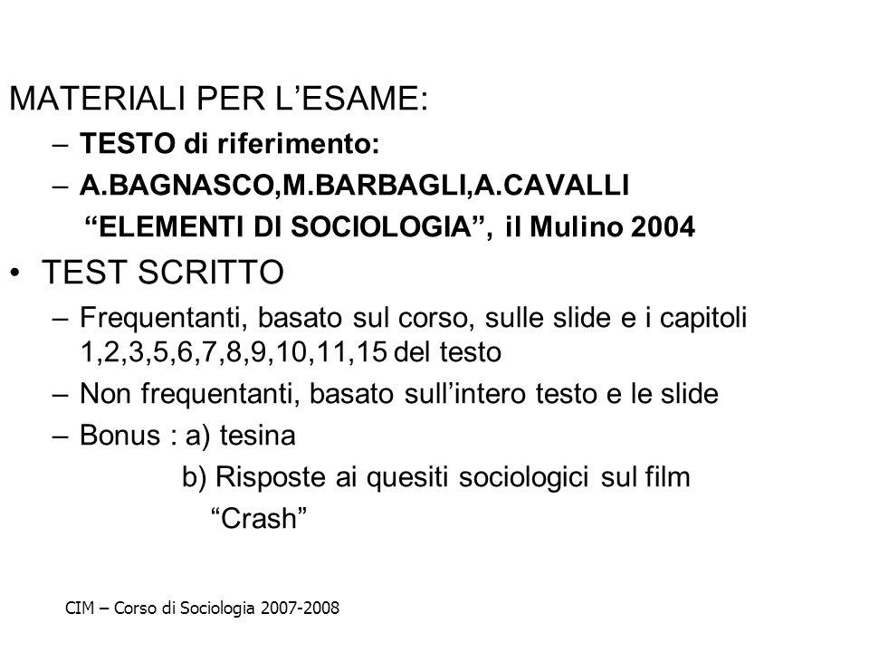 MATERIALI PER LESAME: –TESTO di riferimento: –A.BAGNASCO,M.BARBAGLI,A.CAVALLI ELEMENTI DI SOCIOLOGIA, il Mulino 2004 TEST SCRITTO –Frequentanti, basat