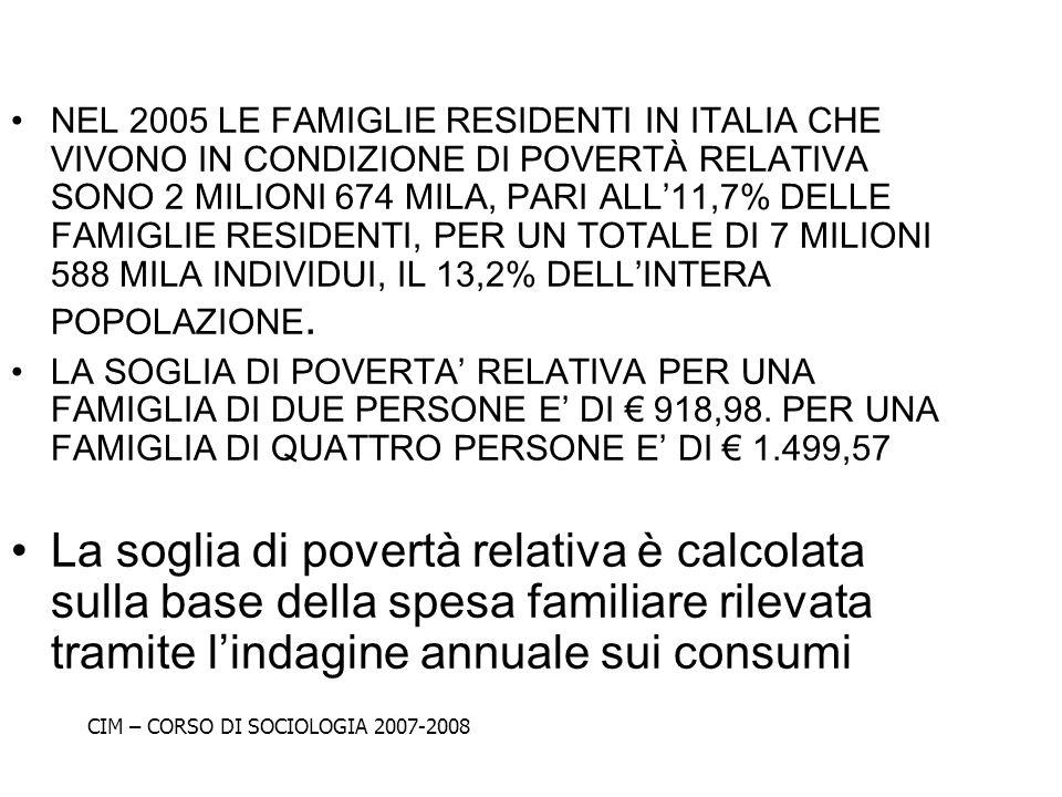 NEL 2005 LE FAMIGLIE RESIDENTI IN ITALIA CHE VIVONO IN CONDIZIONE DI POVERTÀ RELATIVA SONO 2 MILIONI 674 MILA, PARI ALL11,7% DELLE FAMIGLIE RESIDENTI,