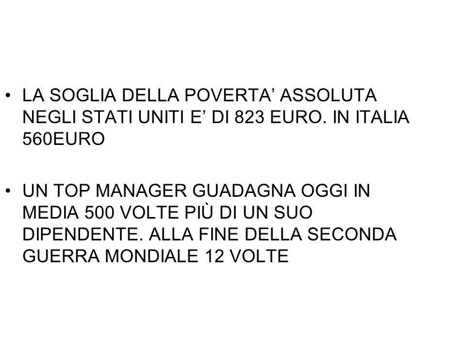 LA SOGLIA DELLA POVERTA ASSOLUTA NEGLI STATI UNITI E DI 823 EURO. IN ITALIA 560EURO UN TOP MANAGER GUADAGNA OGGI IN MEDIA 500 VOLTE PIÙ DI UN SUO DIPE