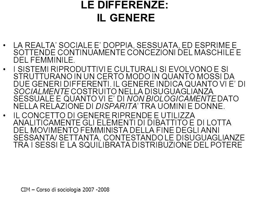 LE DIFFERENZE: IL GENERE LA REALTA SOCIALE E DOPPIA, SESSUATA, ED ESPRIME E SOTTENDE CONTINUAMENTE CONCEZIONI DEL MASCHILE E DEL FEMMINILE. I SISTEMI