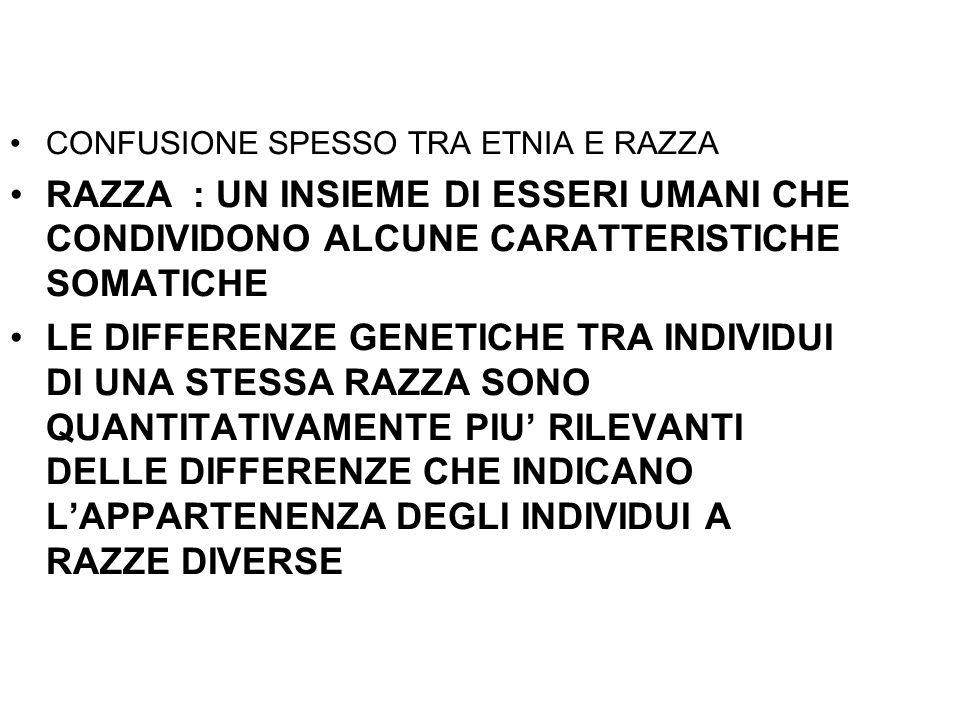 CONFUSIONE SPESSO TRA ETNIA E RAZZA RAZZA : UN INSIEME DI ESSERI UMANI CHE CONDIVIDONO ALCUNE CARATTERISTICHE SOMATICHE LE DIFFERENZE GENETICHE TRA IN