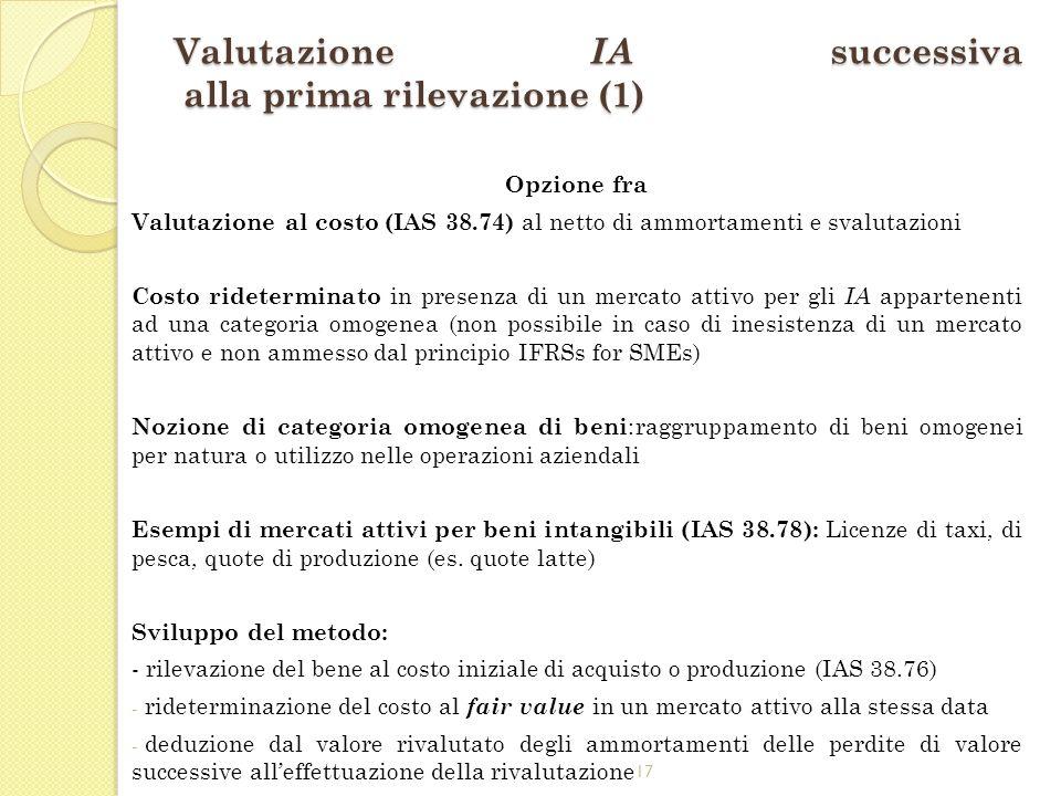 17 Valutazione IA successiva alla prima rilevazione (1) Opzione fra Valutazione al costo (IAS 38.74) al netto di ammortamenti e svalutazioni Costo rid