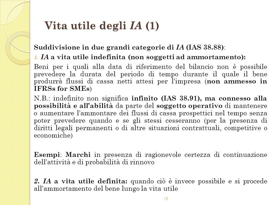 18 Vita utile degli IA (1) Suddivisione in due grandi categorie di IA (IAS 38.88) : 1. IA a vita utile indefinita (non soggetti ad ammortamento): Beni