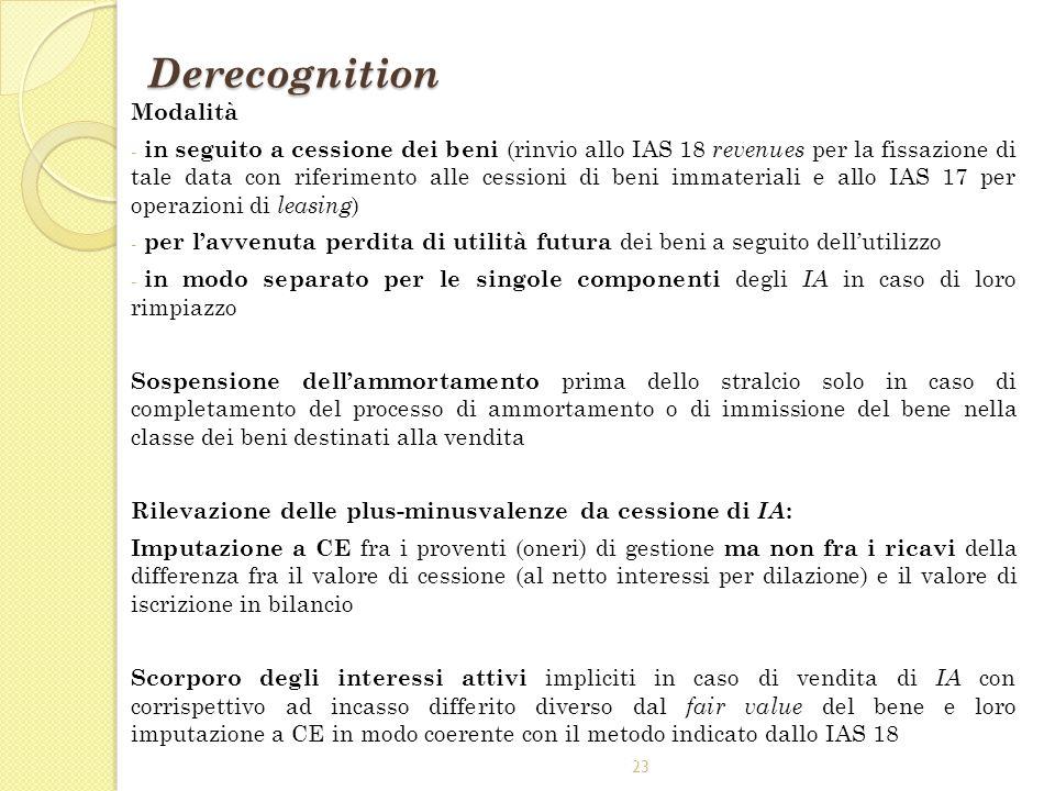 23 Derecognition Modalità - in seguito a cessione dei beni (rinvio allo IAS 18 revenues per la fissazione di tale data con riferimento alle cessioni d