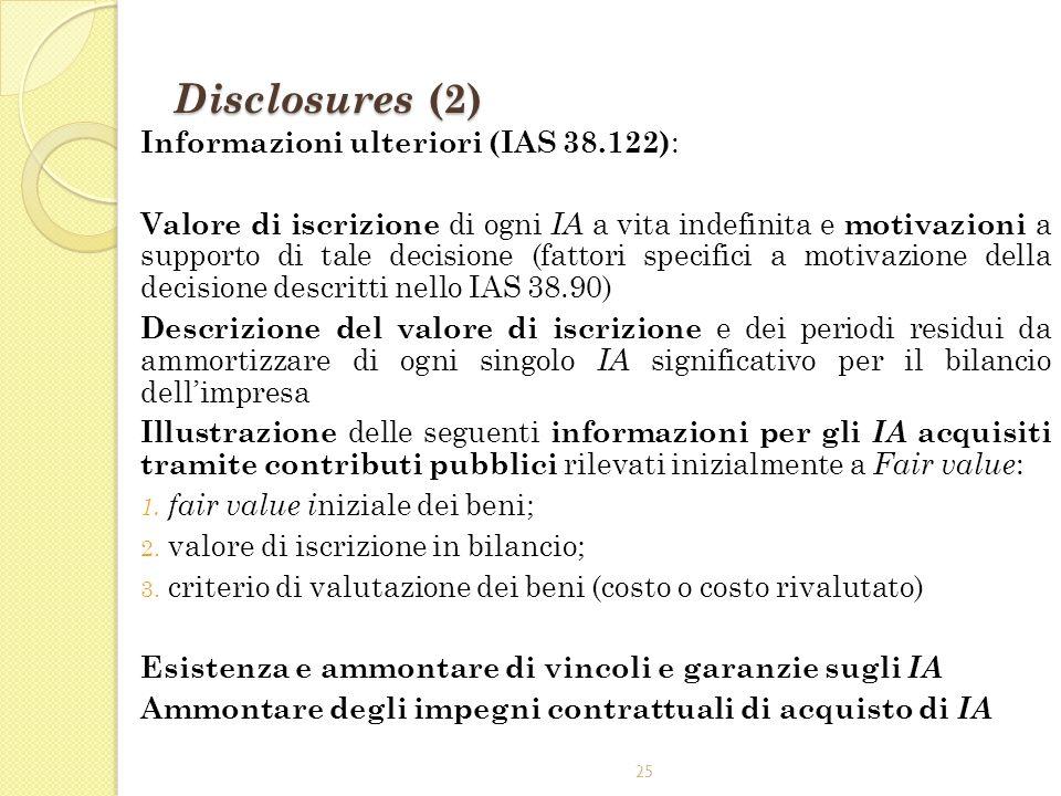 25 Disclosures (2) Informazioni ulteriori (IAS 38.122) : Valore di iscrizione di ogni IA a vita indefinita e motivazioni a supporto di tale decisione