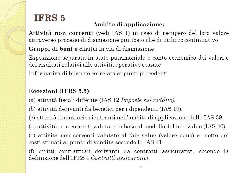 27 IFRS 5 Ambito di applicazione: Attività non correnti (vedi IAS 1) in caso di recupero del loro valore attraverso processi di dismissione piuttosto