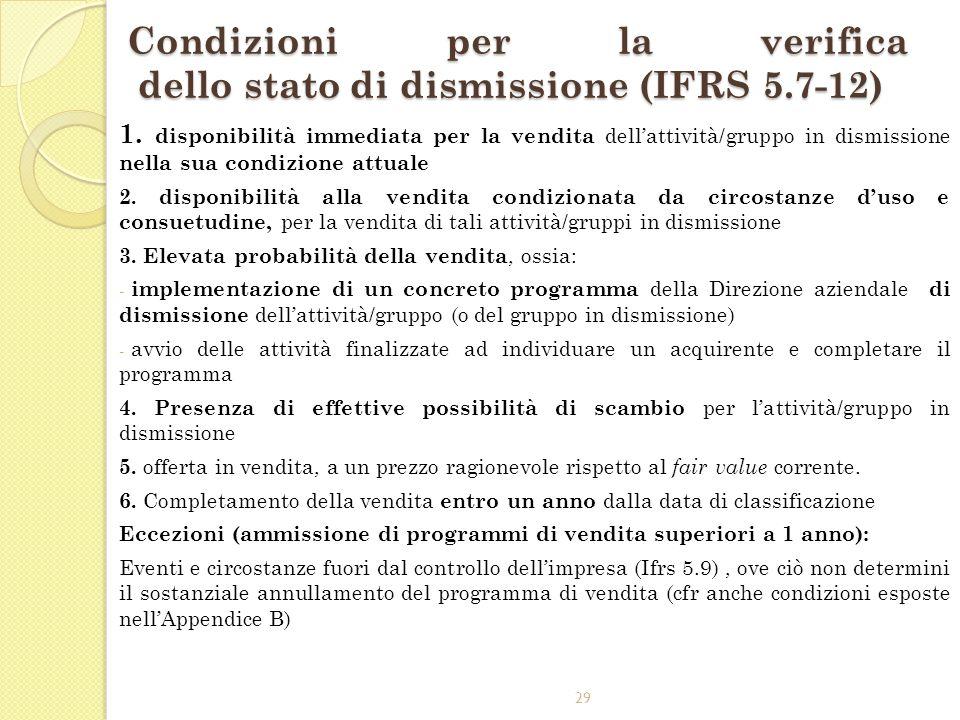 29 Condizioni per la verifica dello stato di dismissione (IFRS 5.7-12) 1. disponibilità immediata per la vendita dellattività/gruppo in dismissione ne
