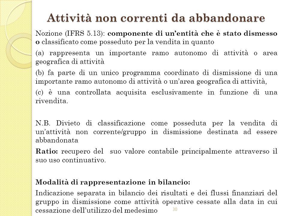 30 Attività non correnti da abbandonare Nozione (IFRS 5.13): componente di unentità che è stato dismesso o classificato come posseduto per la vendita