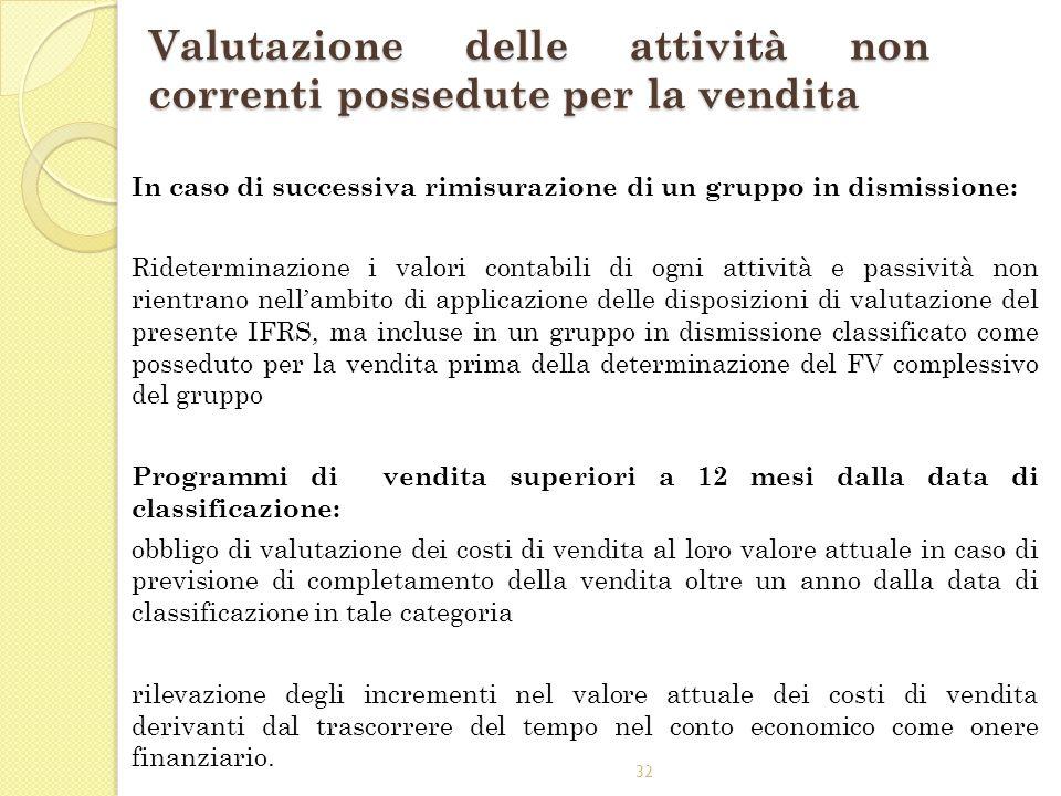 32 Valutazione delle attività non correnti possedute per la vendita In caso di successiva rimisurazione di un gruppo in dismissione: Rideterminazione