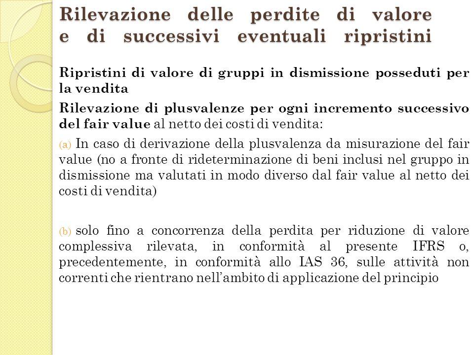 Rilevazione delle perdite di valore e di successivi eventuali ripristini Ripristini di valore di gruppi in dismissione posseduti per la vendita Rileva