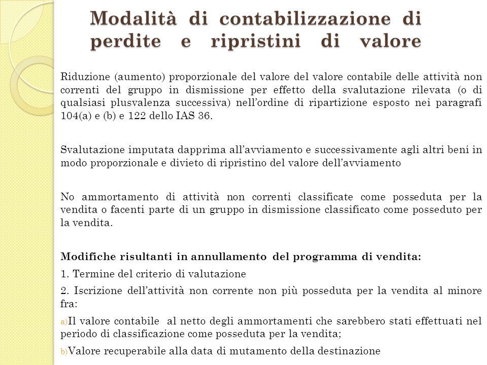 Modalità di contabilizzazione di perdite e ripristini di valore Riduzione (aumento) proporzionale del valore del valore contabile delle attività non c