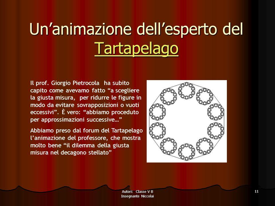 Autori: Classe V B Insegnante Niccolai 11 Unanimazione dellesperto del Tartapelago Tartapelago Il prof.
