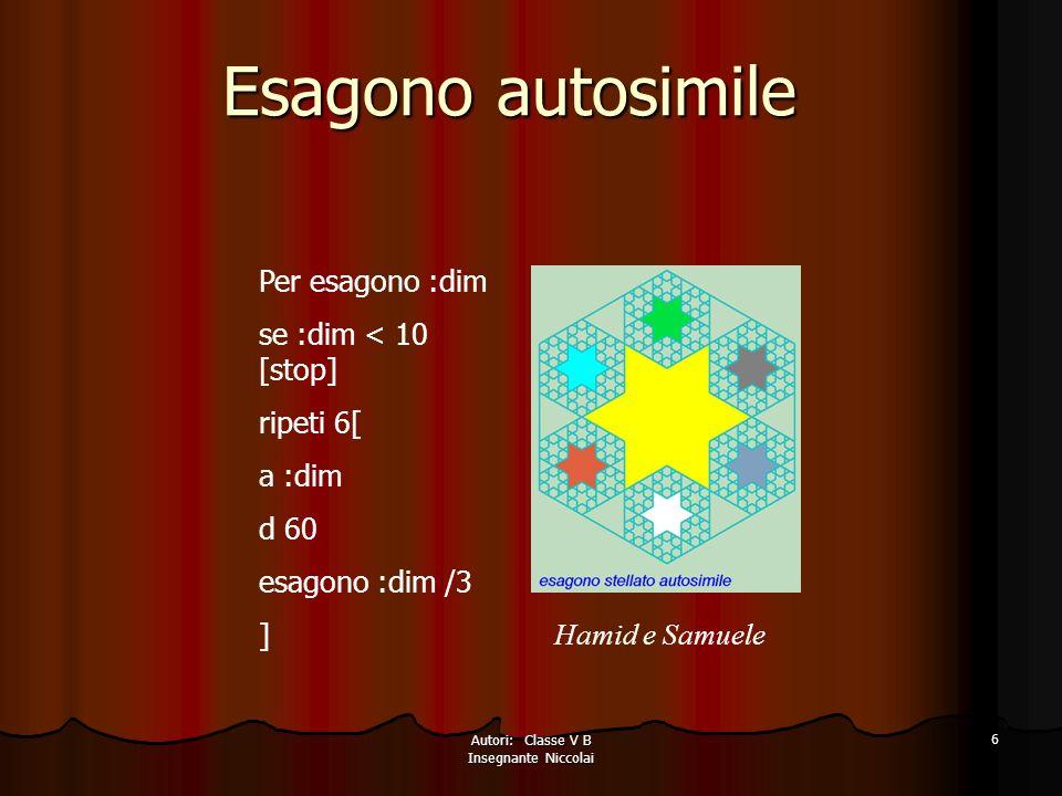 Autori: Classe V B Insegnante Niccolai 6 Esagono autosimile Hamid e Samuele Per esagono :dim se :dim < 10 [stop] ripeti 6[ a :dim d 60 esagono :dim /3 ]