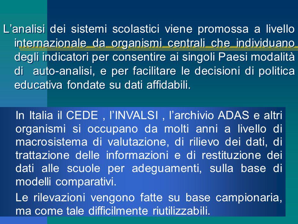 In Italia il CEDE, lINVALSI, larchivio ADAS e altri organismi si occupano da molti anni a livello di macrosistema di valutazione, di rilievo dei dati, di trattazione delle informazioni e di restituzione dei dati alle scuole per adeguamenti, sulla base di modelli comparativi.