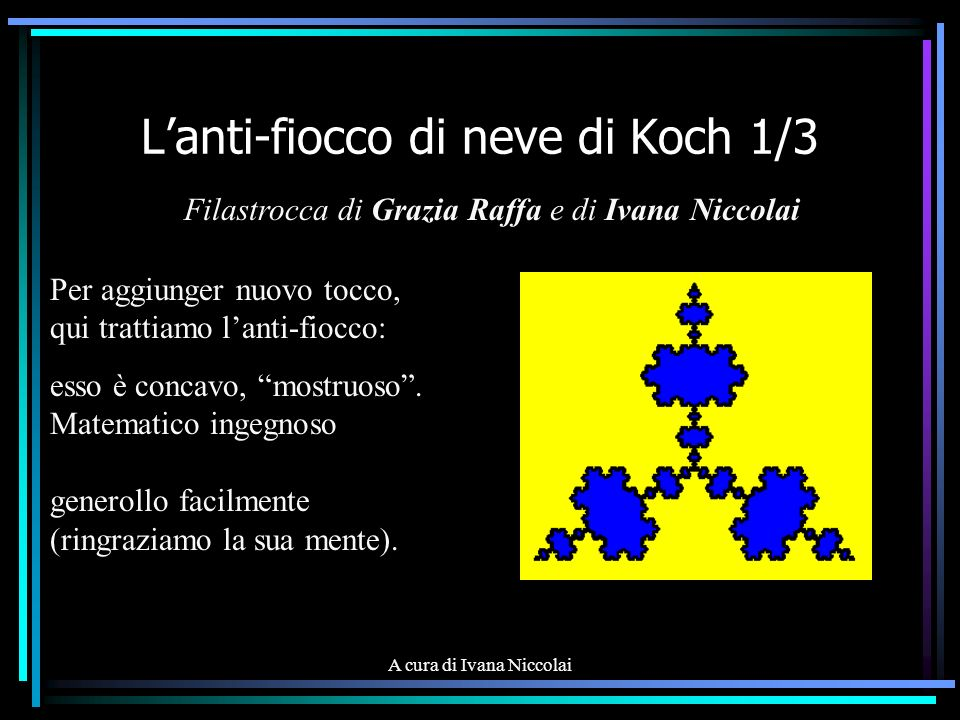 A cura di Ivana Niccolai Lanti-fiocco di neve di Koch 2/3 Equilatero ci occorre, un triangolo (non torre!): ogni lato in tre parti va diviso, senza scarti; or, invece, di addizione, fatta va la sottrazione, questo fiocco diminuisce: va da sé, non ingrandisce.