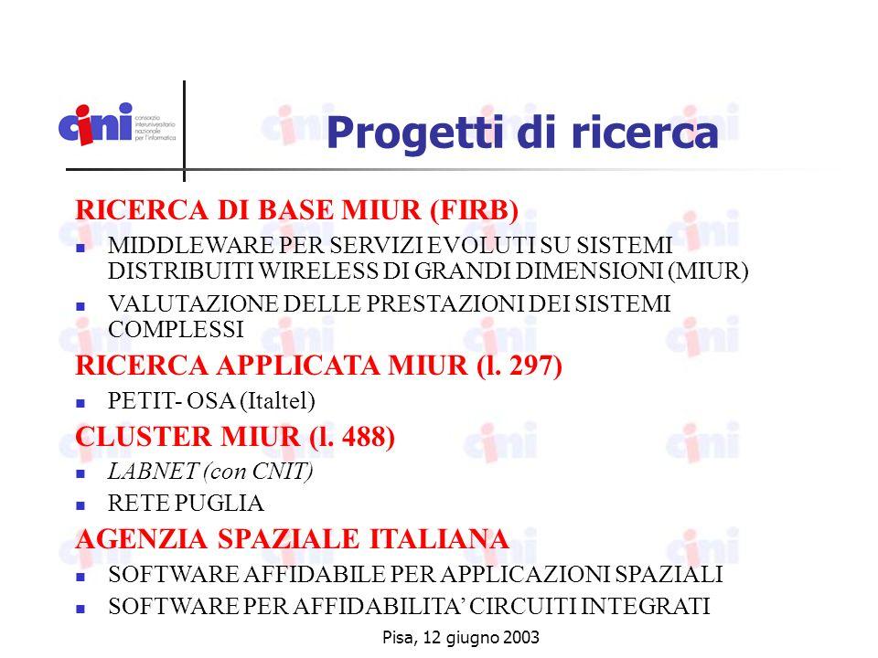 Pisa, 12 giugno 2003 Progetti di ricerca RICERCA DI BASE MIUR (FIRB) MIDDLEWARE PER SERVIZI EVOLUTI SU SISTEMI DISTRIBUITI WIRELESS DI GRANDI DIMENSIONI (MIUR) VALUTAZIONE DELLE PRESTAZIONI DEI SISTEMI COMPLESSI RICERCA APPLICATA MIUR (l.