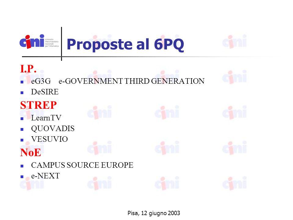 Pisa, 12 giugno 2003 Proposte al 6PQ I.P.