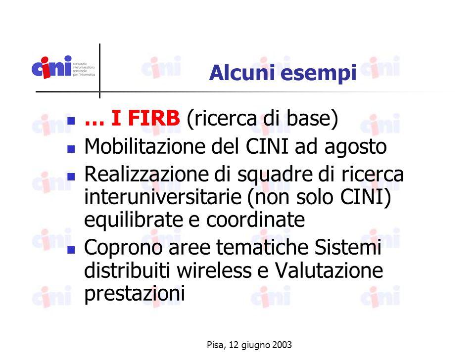 Pisa, 12 giugno 2003 Alcuni esempi … I FIRB (ricerca di base) Mobilitazione del CINI ad agosto Realizzazione di squadre di ricerca interuniversitarie (non solo CINI) equilibrate e coordinate Coprono aree tematiche Sistemi distribuiti wireless e Valutazione prestazioni