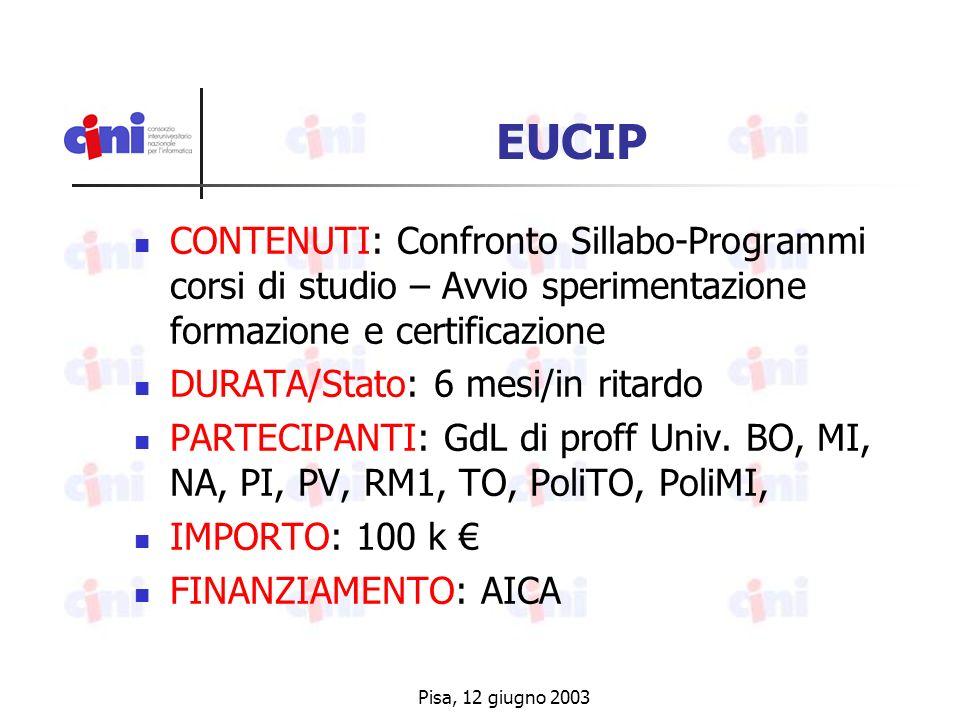 Pisa, 12 giugno 2003 EUCIP CONTENUTI: Confronto Sillabo-Programmi corsi di studio – Avvio sperimentazione formazione e certificazione DURATA/Stato: 6 mesi/in ritardo PARTECIPANTI: GdL di proff Univ.