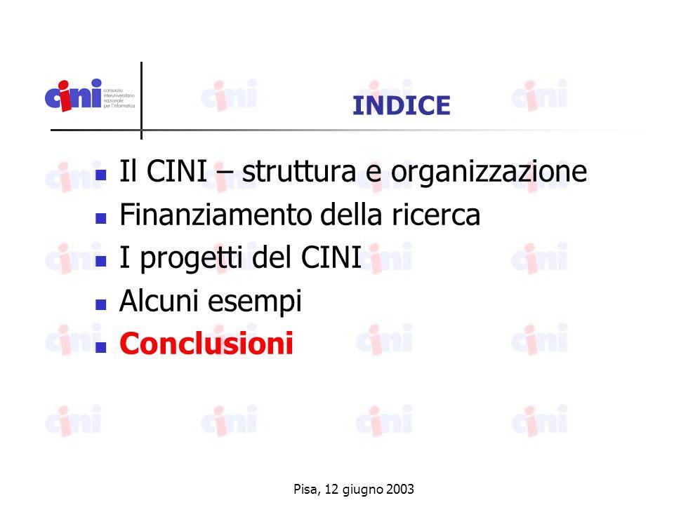Pisa, 12 giugno 2003 INDICE Il CINI – struttura e organizzazione Finanziamento della ricerca I progetti del CINI Alcuni esempi Conclusioni