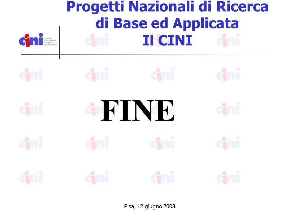 Pisa, 12 giugno 2003 Progetti Nazionali di Ricerca di Base ed Applicata Il CINI FINE