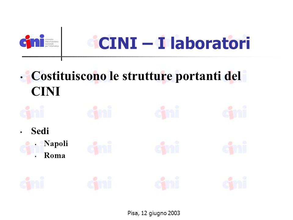 Pisa, 12 giugno 2003 CINI – I laboratori Costituiscono le strutture portanti del CINI Sedi Napoli Roma