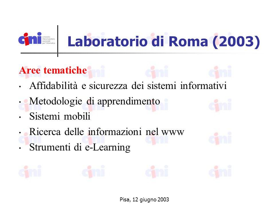Pisa, 12 giugno 2003 Laboratorio di Roma (2003) Aree tematiche Affidabilità e sicurezza dei sistemi informativi Metodologie di apprendimento Sistemi mobili Ricerca delle informazioni nel www Strumenti di e-Learning