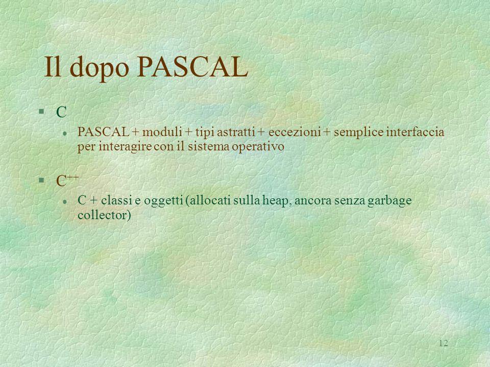 12 Il dopo PASCAL §C§C l PASCAL + moduli + tipi astratti + eccezioni + semplice interfaccia per interagire con il sistema operativo §C ++ l C + classi