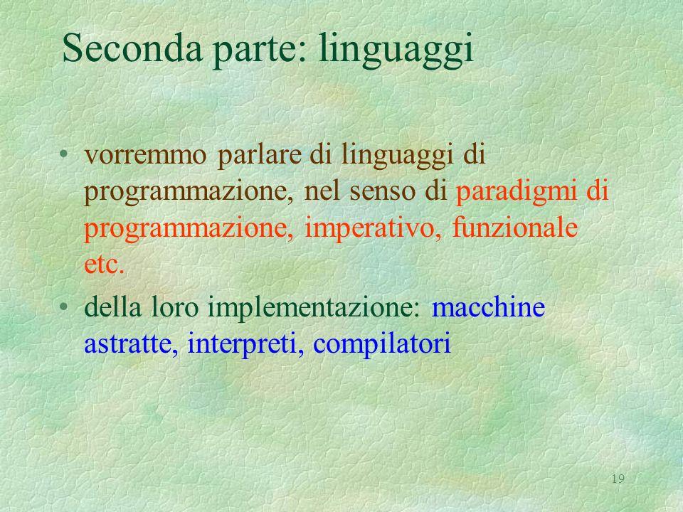 19 Seconda parte: linguaggi vorremmo parlare di linguaggi di programmazione, nel senso di paradigmi di programmazione, imperativo, funzionale etc. del