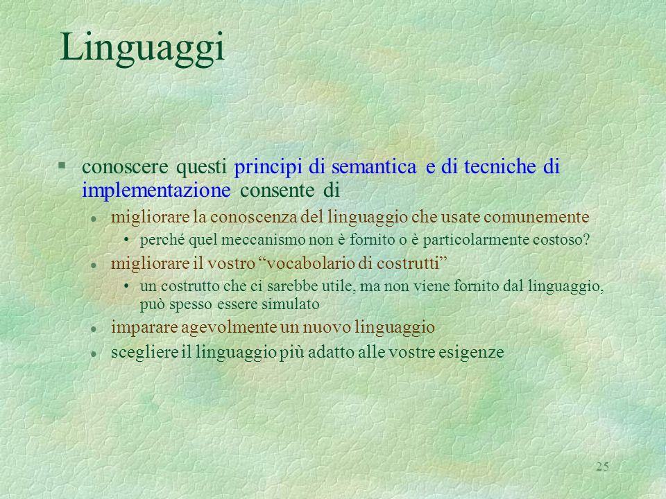 25 Linguaggi §conoscere questi principi di semantica e di tecniche di implementazione consente di l migliorare la conoscenza del linguaggio che usate