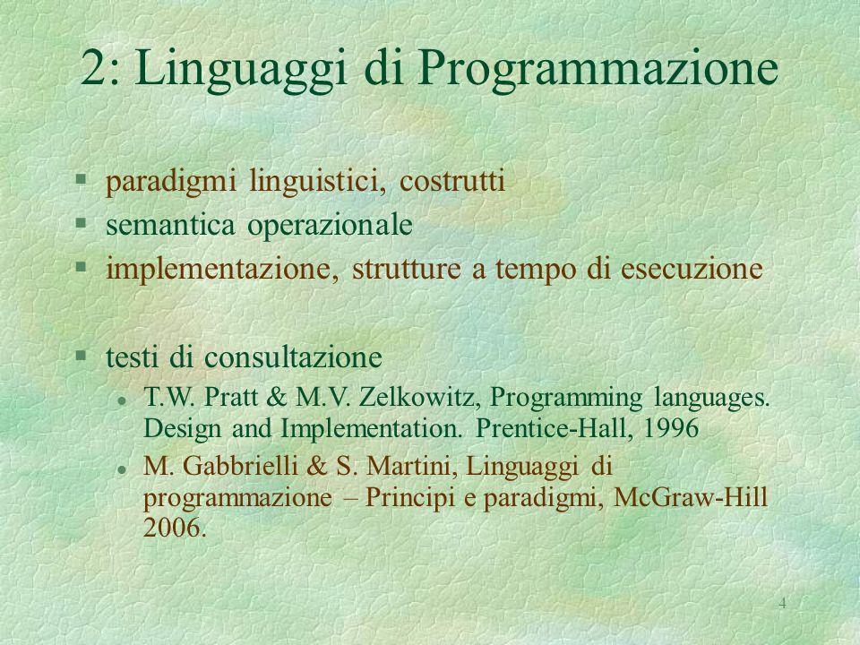 4 2: Linguaggi di Programmazione §paradigmi linguistici, costrutti §semantica operazionale §implementazione, strutture a tempo di esecuzione §testi di