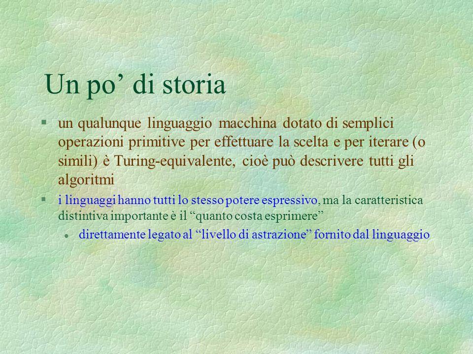 Un po di storia §un qualunque linguaggio macchina dotato di semplici operazioni primitive per effettuare la scelta e per iterare (o simili) è Turing-e