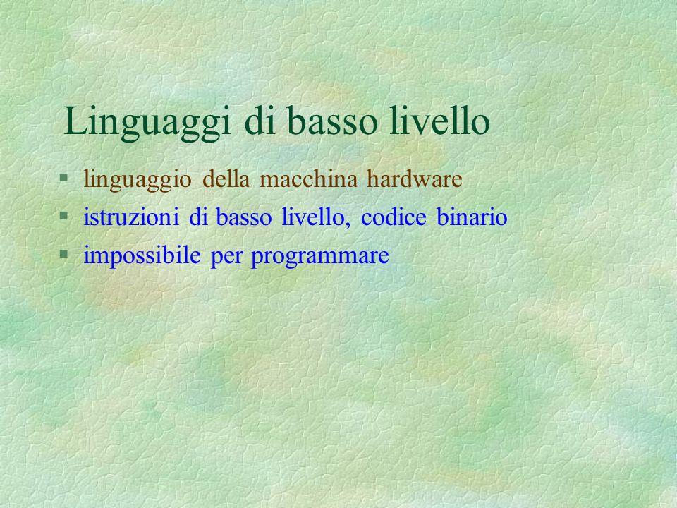 Linguaggi di basso livello §linguaggio della macchina hardware §istruzioni di basso livello, codice binario §impossibile per programmare