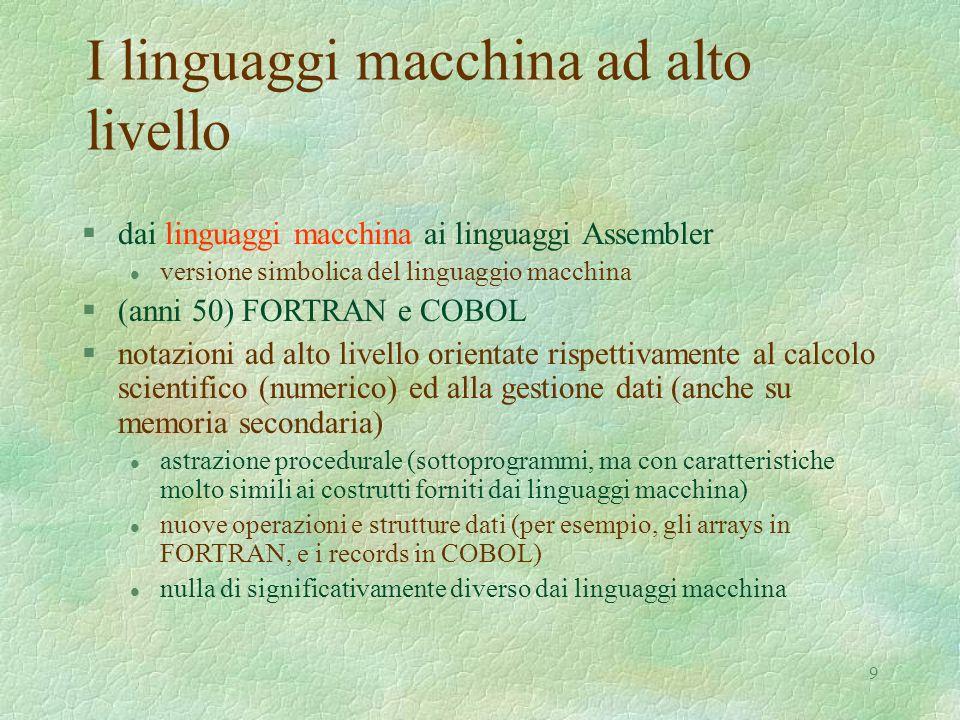 9 I linguaggi macchina ad alto livello §dai linguaggi macchina ai linguaggi Assembler l versione simbolica del linguaggio macchina §(anni 50) FORTRAN