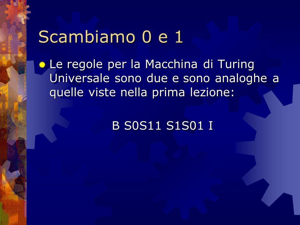 Scambiamo 0 e 1 Le regole per la Macchina di Turing Universale sono due e sono analoghe a quelle viste nella prima lezione: Le regole per la Macchina